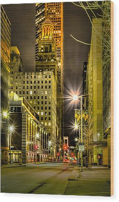 Travis And Lamar Street At Night Wood Print