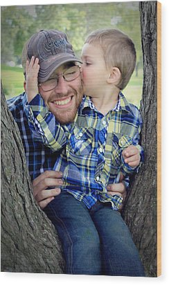 Travis And Tucker Wood Print by Michele Richter
