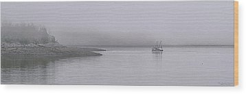 Wood Print featuring the photograph Trawler In Fog by Marty Saccone
