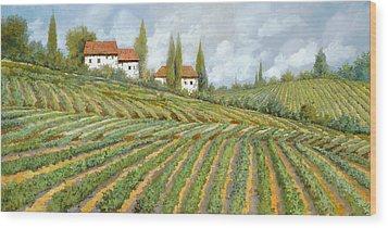 Tre Case Bianche Nella Vigna Wood Print by Guido Borelli