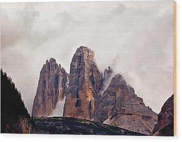 Tre Cime Di Lavaredo Wood Print by Charles Lupica