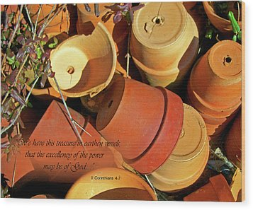 Wood Print featuring the photograph Treasure In Clay Pots by Larry Bishop