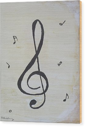 Wood Print featuring the painting Treble Cleft by Martin Blakeley