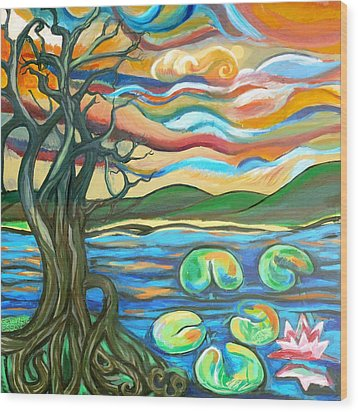 Tree And Lilies At Sunrise Wood Print by Genevieve Esson