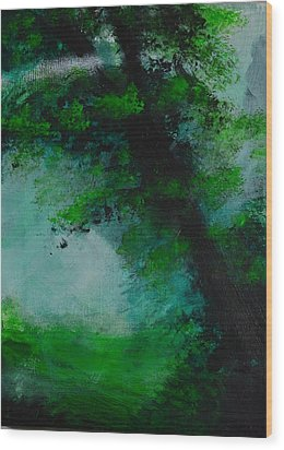 Tree And Mist Wood Print