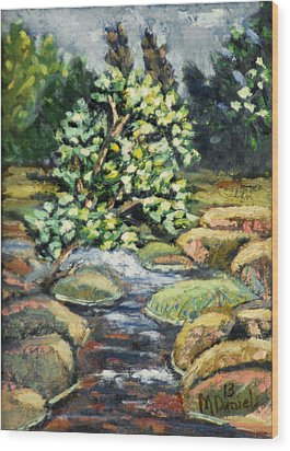 Wood Print featuring the painting Tree And Stream by Michael Daniels