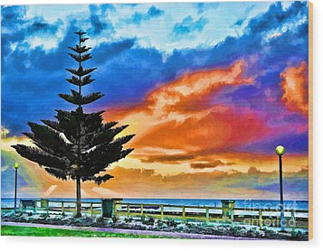 Tree And Sunset Wood Print by Yew Kwang