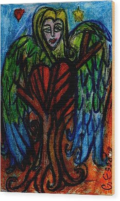 Tree Angel Wood Print by Genevieve Esson