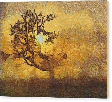 Tree At Sunset - Digital Painting In Van Gogh Style With Warm Orange And Brown Colors Wood Print by Matthias Hauser
