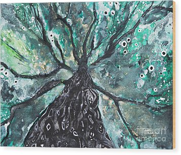 Tree Branches Above Wood Print by Tara Thelen