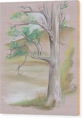 Wood Print featuring the pastel Tree By A Mountain Lake by MM Anderson