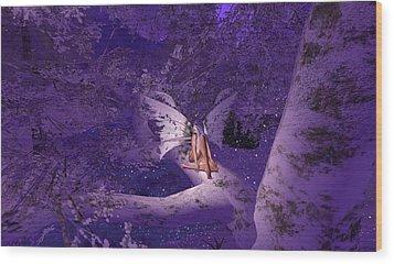 Tree Fairy In Snow Wood Print by Amanda Holmes Tzafrir