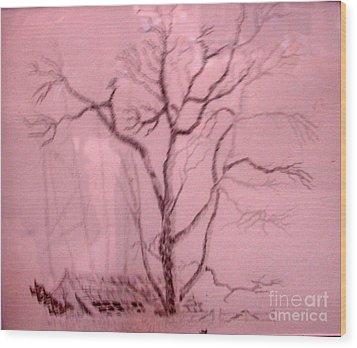 Tree Growing Out Of Barn Wood Print by Joseph Hawkins