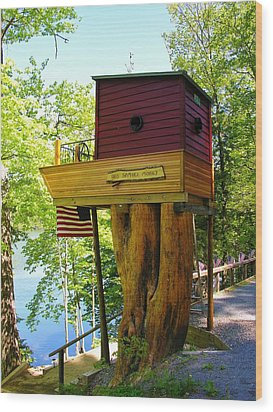 Tree House Boat Wood Print