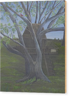 Tree House Wood Print