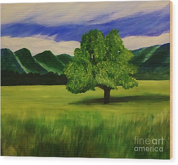 Tree In A Field Wood Print by Christy Saunders Church