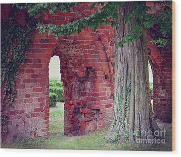 Wood Print featuring the photograph Tree In An Old Cloister by Art Photography