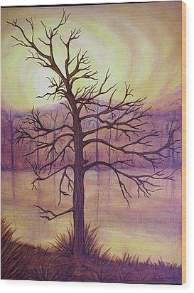 Tree In Gold Landscape Wood Print by Jan Wendt