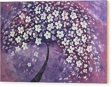 Tree In Purple Wood Print by Mariana Stauffer
