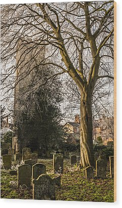 Tree In St Mary Magdalene's Church Yard Wood Print by David Isaacson