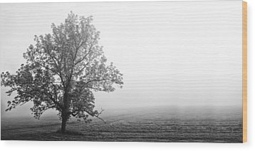 Tree In The Fog Wood Print by Andrew Soundarajan
