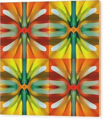 Tree Light Square Pattern Wood Print by Amy Vangsgard