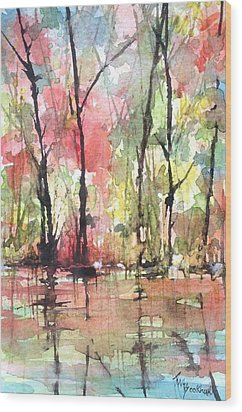Tree Line Reflections Wood Print by Robin Miller-Bookhout