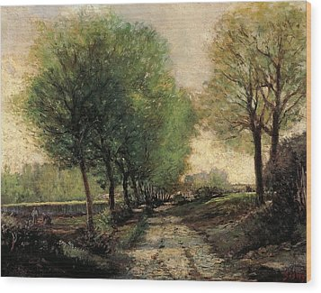 Tree-lined Avenue In A Small Town Wood Print by Alfred Sisley