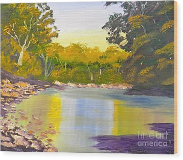 Tree Lined River Wood Print