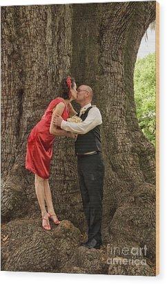 Tree Lovers- Bride And Groom Wood Print by Kathleen K Parker
