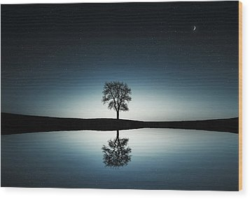 Tree Near Lake At Night Wood Print