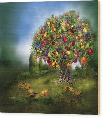 Tree Of Abundance Wood Print by Carol Cavalaris