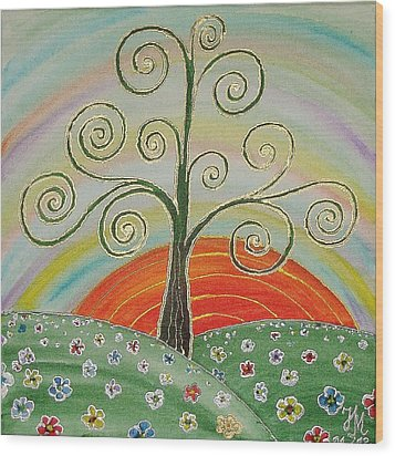 Tree Of Happiness Wood Print by Nina Mitkova