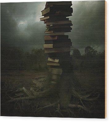 Tree Of Knowledge Wood Print by Fern Evans
