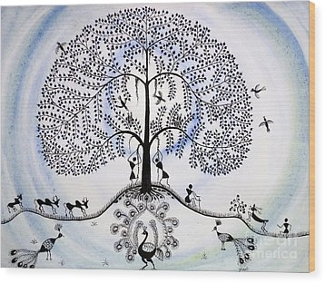Tree Of Life Wood Print by Anjali Vaidya