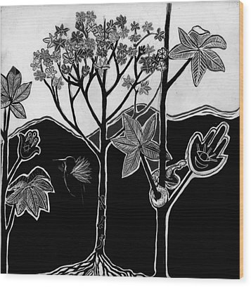 Wood Print featuring the drawing Tree Of Life by Aurora Levins Morales