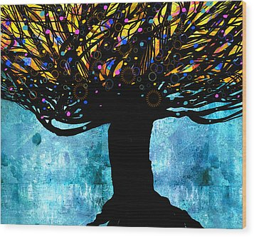 Tree Of Life Blue And Yellow Wood Print by Ann Powell