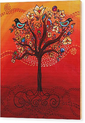 Tree Of Life Wood Print by Catherine Barry