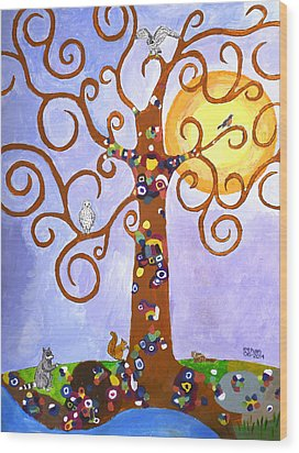 Gustav Klimt Tree Of Life Wood Print by Ethan Altshuler