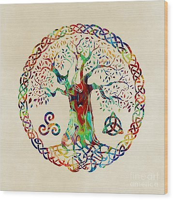Tree Of Life Wood Print by Olga Hamilton