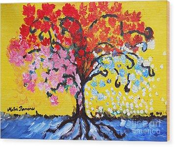 Tree Of Life Wood Print by Ramona Matei
