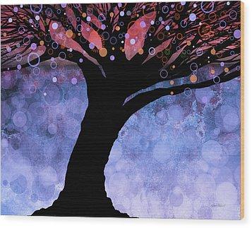 Tree Of Life Three Wood Print by Ann Powell