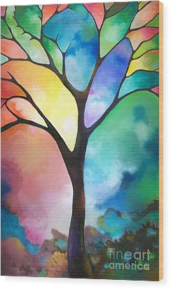Original Art Abstract Art Acrylic Painting Tree Of Light By Sally Trace Fine Art Wood Print