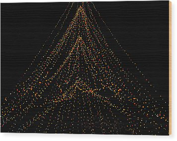 Tree Of Lights Wood Print