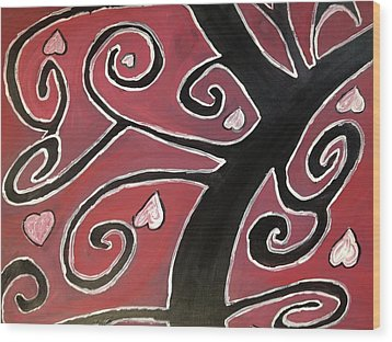 Tree Of Love Wood Print by Paula Brown