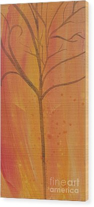 Wood Print featuring the painting Tree Of Three Coral by Robin Maria Pedrero