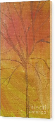 Wood Print featuring the painting Tree Of Three Gold by Robin Maria Pedrero