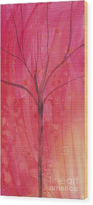 Wood Print featuring the painting Tree Of Three Pink by Robin Maria Pedrero