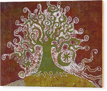 Tree On A Hill Wood Print by Victoria Dresdner