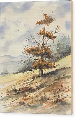 Tree On A Hillside Wood Print by Sam Sidders